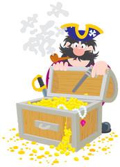 Pirate and treasure chest