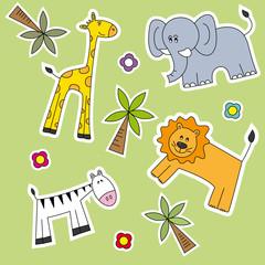 Fondo infantil de animales salvajes