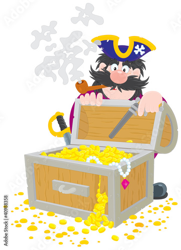 Pirate and treasure chest