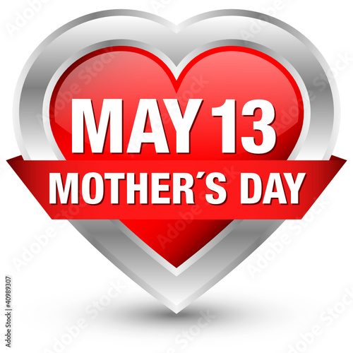 "Heartbutton Banner ""May 13 Mother´s Day"" Red"