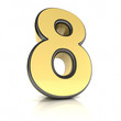 The number eight as a shiny metal object over white