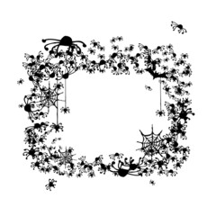Halloween frame made from spiders and bats