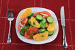 Served in dish fruits and vegetables salad.
