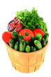 Fresh Vegetables and Seasonings in Bucket Basket.
