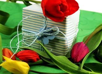 Present mit Tulpen