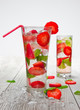 Strawberry mojito drinks