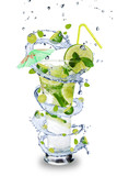 Fresh mojito drink with splash spiral around glass
