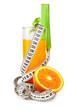 Orange juice celery and measure tape