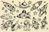 Outer Space Doodle Sketch notebook Elements poster