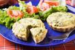 Mini spinach quiche with salad