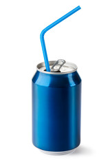 Aluminum can with the ring pull and straw