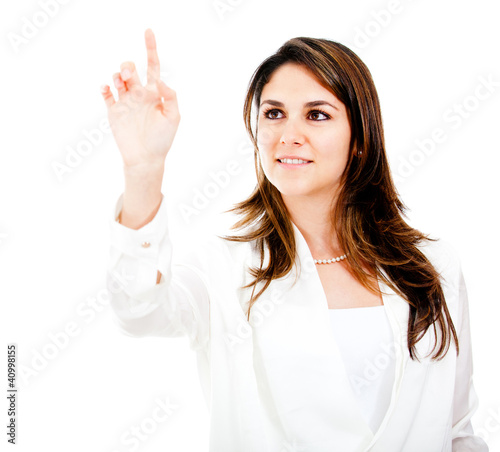 Businesswoman touching with finger