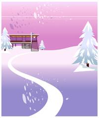 Winter landscape and building exterior