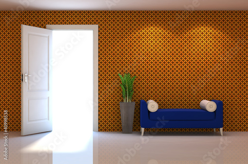 3d interior scene of a blue couch on orange classic wall