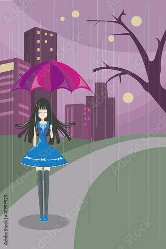 Lonely Cute Girl 2 (vecter)