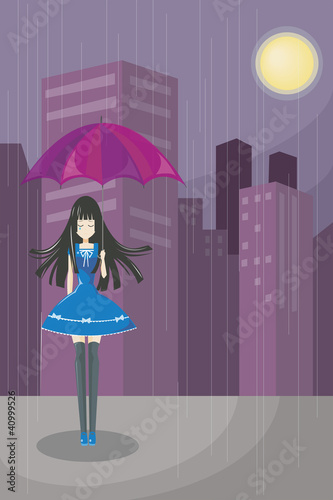Lonely Cute Girl (vecter)