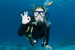 Leinwanddruck Bild - scuba diver makes OK sign