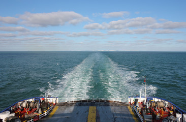 Ferry Boat leaving UK land from Dover to Calais