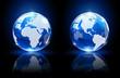 Blue globes on dark background