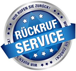 "Button Banner ""Rückruf Service"" blau/silber"