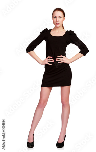 Pretty teenage girl in black dress