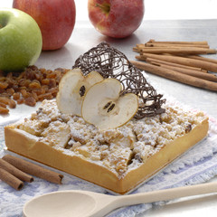Pastel de manzana con chocolate.