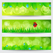 Set of beautiful green spring banners