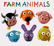 cute farm animals 1 - plasticine heads collection