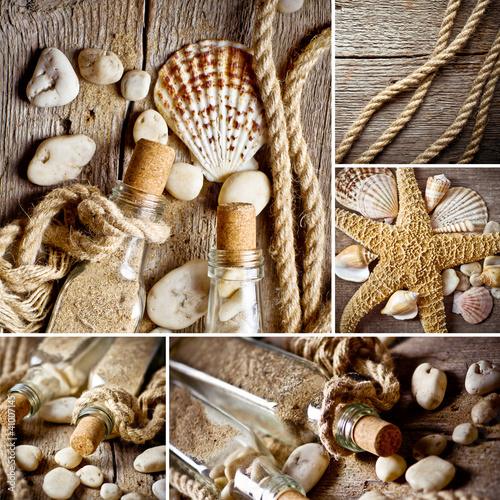 Vintage background with bottles and seashell