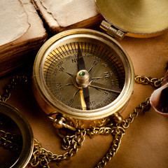 Vintage background with old compass