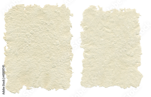 Two sheets of handmade paper