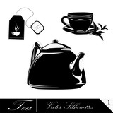Tea pots with cups, vector design elements