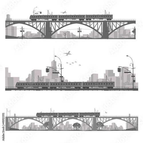 Vector illustration.Train on a bridge .City scape silhouette
