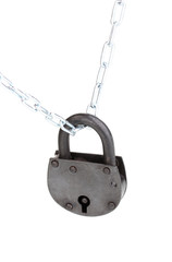 Retro padlock on chain isolated on white