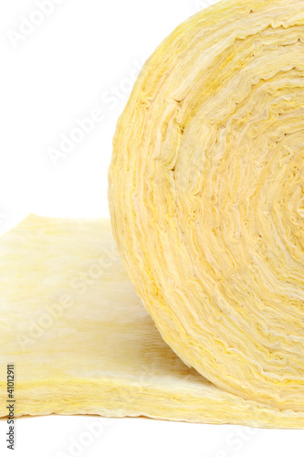Roll of fiberglass insulation material, isolated on white