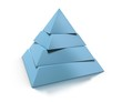 3d pyramid, four levels over white background