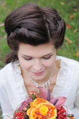 Beautiful young bride, portrait outdoors