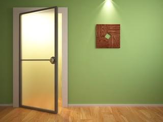 open door on the green wall