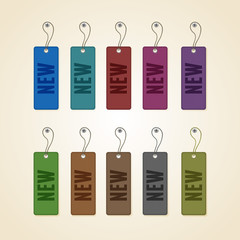Set of colorful new tags
