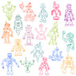 Robots Hand Drawn Doodle Set - for scrapbook or your design in v