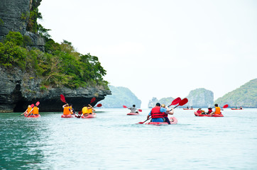 traveler kayaking in the Gulf of Thailand