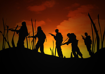 Soldiers Patrol at Dawn