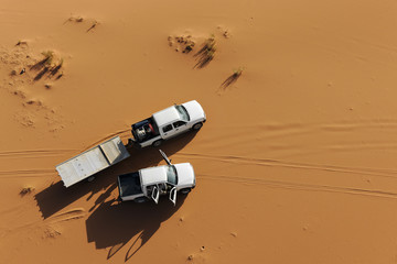 Off road cars in the desert of Wadi Rum