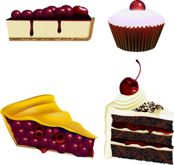 Cake and Pastry Vectors - Cherries