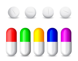icon of white tablets and colorful  pills
