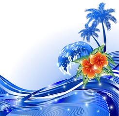 Vacanze ai Tropici-Sfondo-Tropical Summer Holidays Background