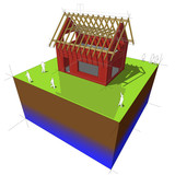 Construction of detached house with wooden roof framework poster