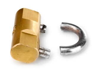 Modern sawn padlock isolated on white