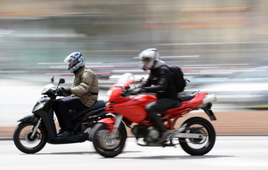 Scooter and Motorbike drive along Spanish Road