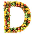 Letter - D made of fruits. Isolated on a white.